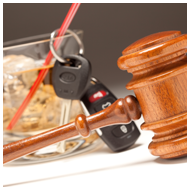 Gavel with Alcoholic Drink and Car Keys